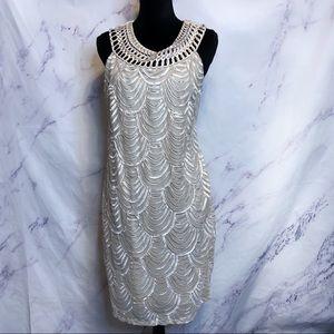 Eliza J Beige Embellished Swirl Dress